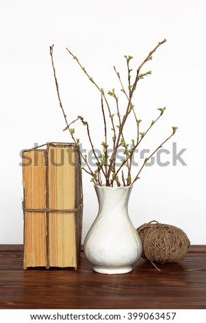 Old Books Ball Yarn Vase Branches Stock Photo Royalty Free