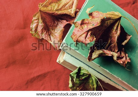 Old books among the dry yellow maple leaves on the red linen tablecloth.  Vintage tones processing, Selective focus at the books - shallow depth of field - stock photo