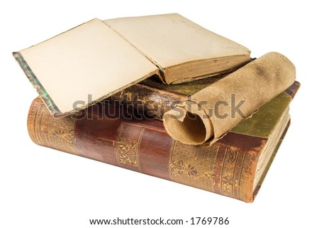 old books and paper scroll - stock photo