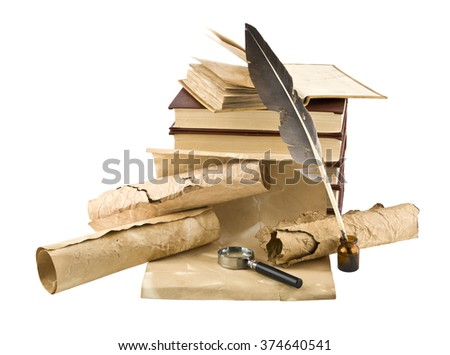 old books and pen on white background - stock photo