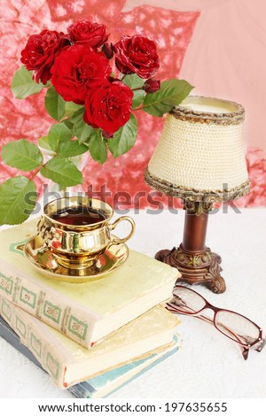 old books and rose, Vintage still life - stock photo