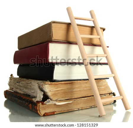 Old books and wooden ladder, isolated on white - stock photo