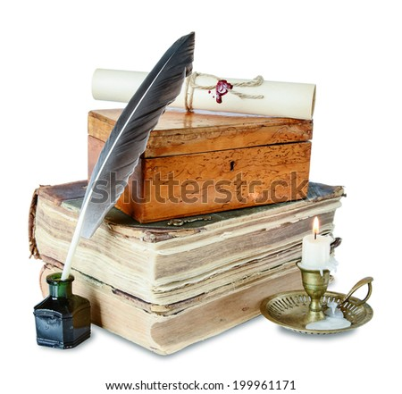 Old books, candle in candlestick, feather in inkpot, closed wooden box and scroll with stamp - stock photo