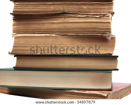 Old books. Close-up. Isolated on white.