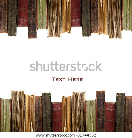 old books in a row isolated on white background - stock photo