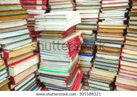 Old books in the Library,Abstract blur background - stock photo