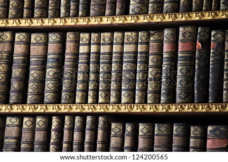 Old books in the Library of Stift Melk, Austria. - stock photo