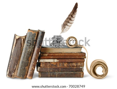 Old books,  inkstand and scroll isolated on white - stock photo