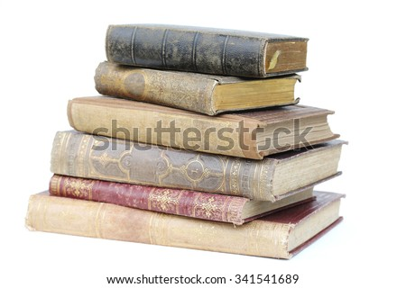 old books isolated on white. - stock photo