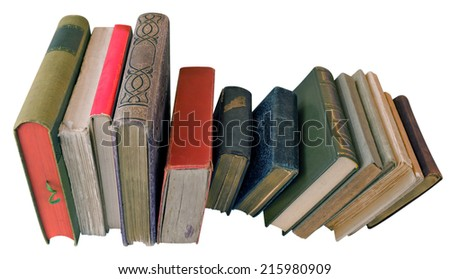 Old books isolated on white. Clipping path included. - stock photo