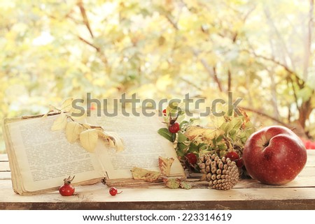 old books, leaves and apple in autumn scenery - stock photo