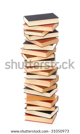old books on a pile studio isolated