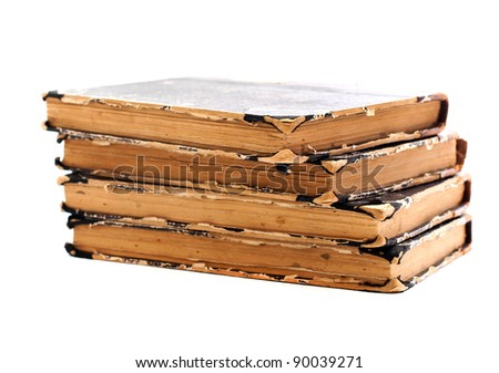 Old books on a white background. Book binding - stock photo