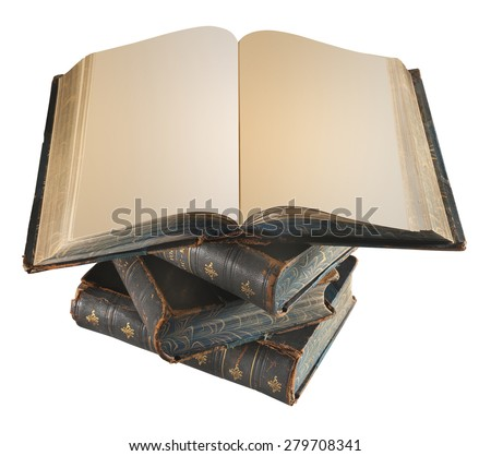 Old books on a white background, isolated with a clipping path - stock photo