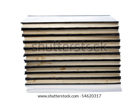 Old books on isolated white background
