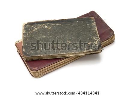 Old books on white background - stock photo