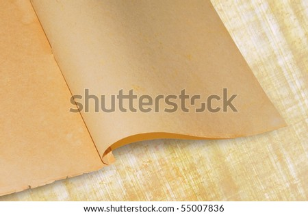 Old books page - ancient sheets of paper with spots on papyrus background. Paper and papyrus - traditional materials for writing. - stock photo