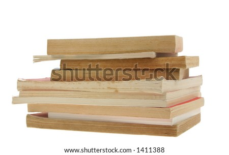 old books pile on pure white background - stock photo