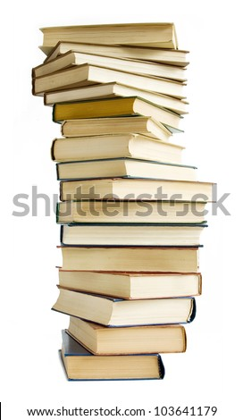 Old books stack isolated on white background