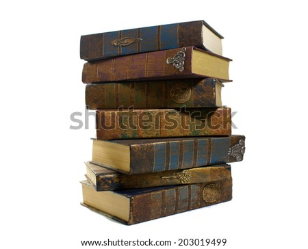 Old books - stacked - stock photo