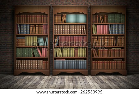 Old bookshelves in room background. 3D rendering - stock photo