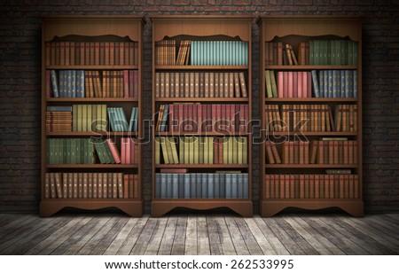 Old bookshelves in room background. 3D rendering - stock photo