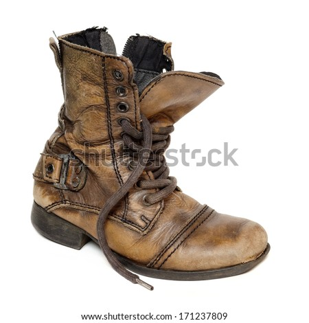 Old  boot isolated on white background.