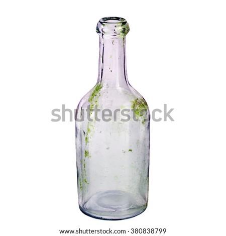 old bottle isolated on white background - stock photo