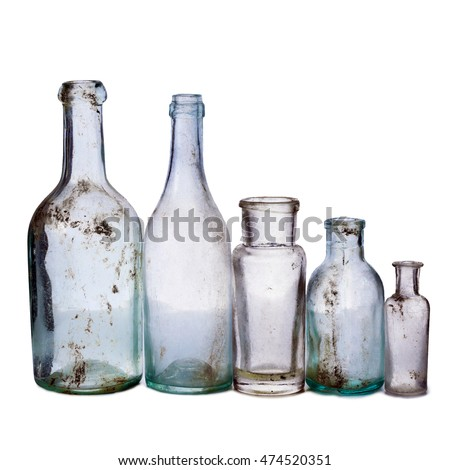 Old bottle isolated on white background