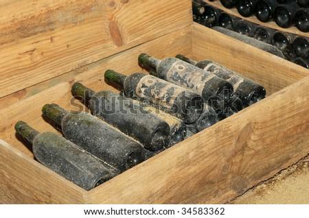 old bottles in wine cellar - stock photo