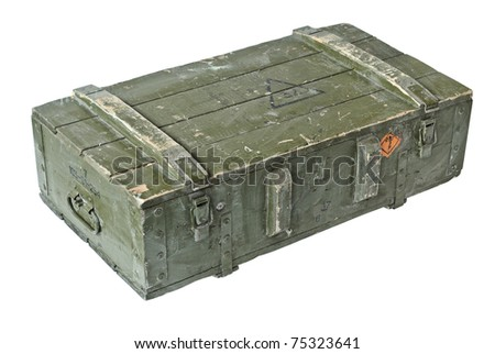 Old Box of ammunition. With Clipping Path - stock photo