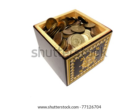 old box with money isolated on white - stock photo