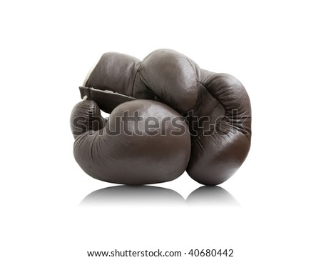 old boxer gloves are on white background