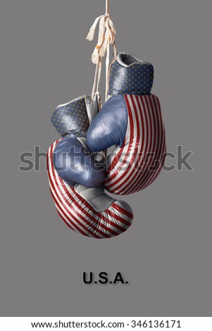 old Boxing Gloves in the Color of America - stock photo