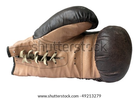 Old boxing gloves with a lace - stock photo