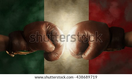 old Boxing Gloves with the Flag of Italy or Mexico - stock photo