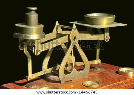 Old Brass Balance Scales - stock photo