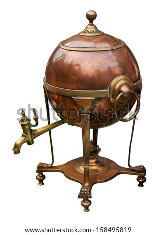 Old brass boiler. Clipping path included. - stock photo