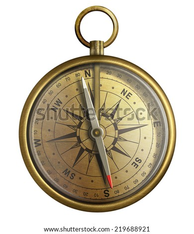 old brass compass, realistic illustration isolated on white - stock photo