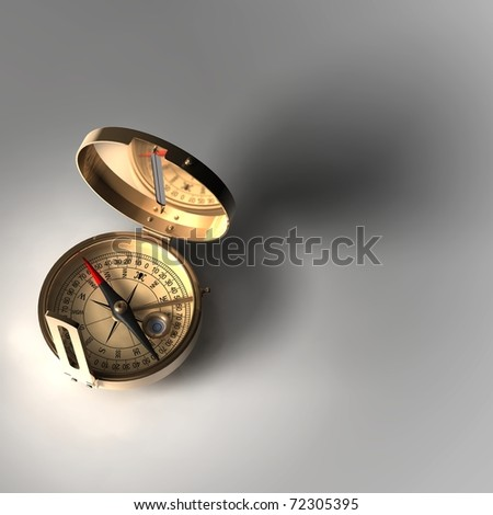 Old brass compass with smooth shadow - stock photo