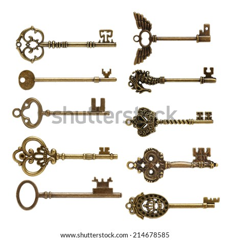 old brass key against a white background - stock photo