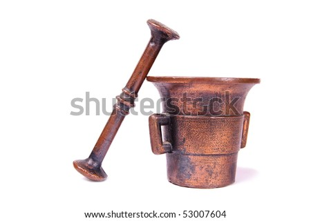 Old brass mortar - stock photo
