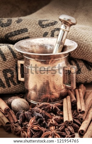 Old brass mortar and spice - stock photo