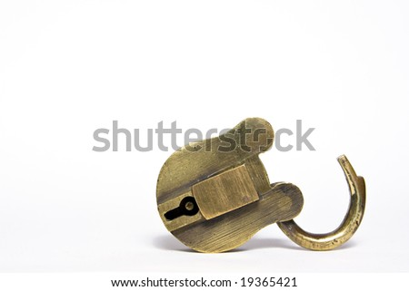old brass padlock isolated on a white background. - stock photo