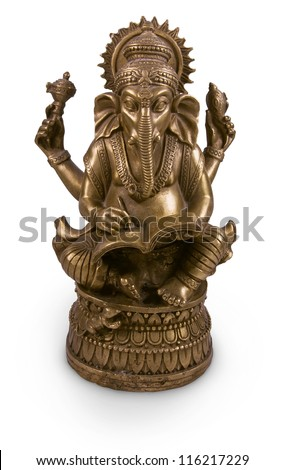 Old brass statuette of hindu God Ganesha or Ganapati or Vighnanayaka with book isolated on white - stock photo