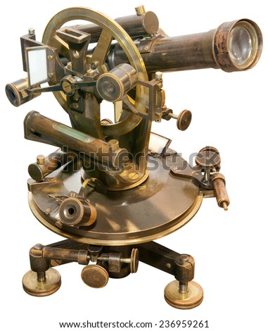 Old Brass Theodolite Isolated with Clipping Path - stock photo
