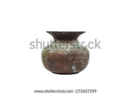 Old brass vase on white background - stock photo