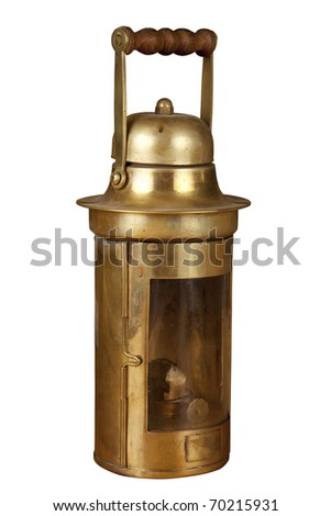 Old brassy ship lantern - stock photo