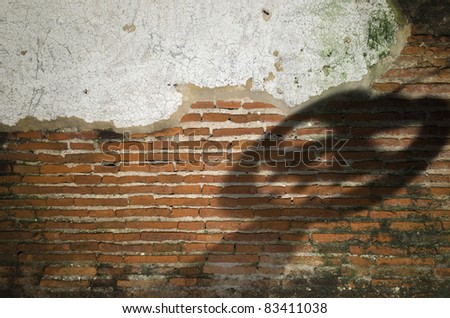 Old brick backgrounds texture with Halloween theme - stock photo