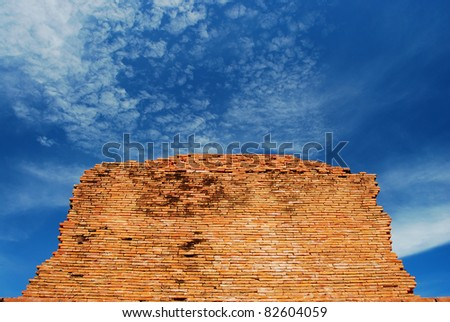 Old Brick blue sky texture background design - stock photo